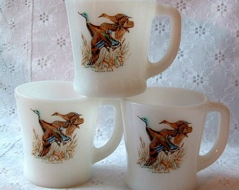 1960's Vintage MALLARD DUCK Fire King Anchor Hocking mug Milk Glass Coffee Mug Set of 3
