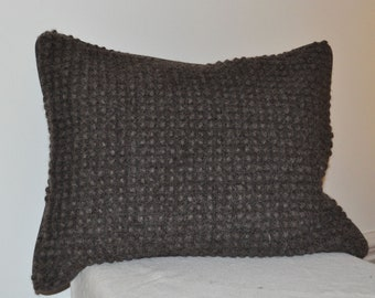 Natural Dark Brown Felted Pillow with Picot Pattern