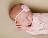 Light Pink Baby Girl Flower Headband, Shabby Chic Headband, Fabric Flower, Newborns Props, Small Flower Headband, Baby Girls Props