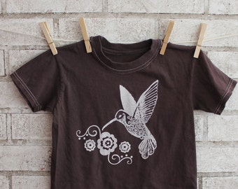 Hummingbird Toddler cotton Tshirt, Pretty Bird Childrens tee shirt, dyed Brown or custom colors