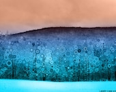 """Winter snowy art landscape photography, turquoise, snow covered mountains, trippy snowflakes, fractals, 11x14"""" matted photograph"""