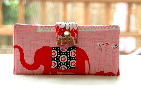 Clutch wallet all vegan handmade pink elephant