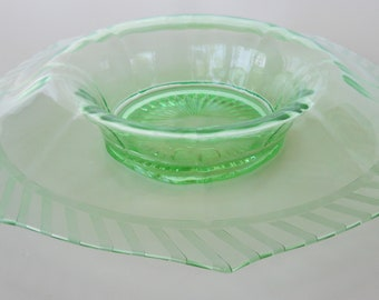 Vintage Green Depression Glass Rolled Edge Console Bowl