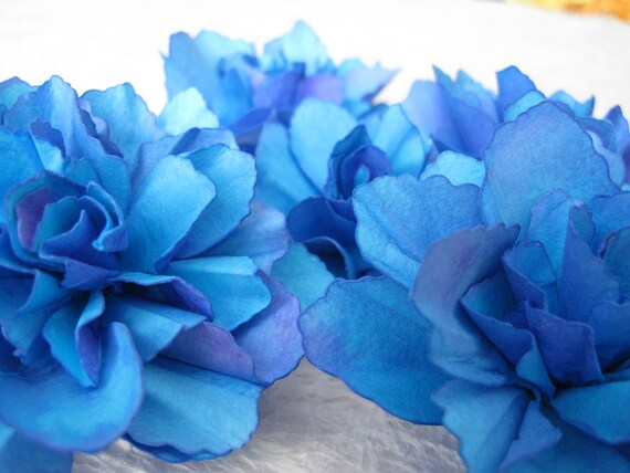 Two Tone Purple-Blue Handmade Paper Flowers - Set of 5