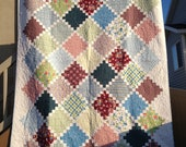 Reduced price 75 inch by 102 inch Burgundy, blue, green, and pink using DS Quilts Sugar Creek Collection