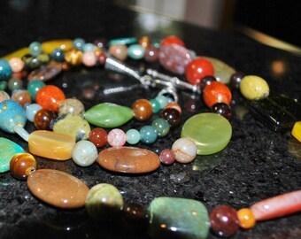 Multi Colored Double Strand Stone Necklace