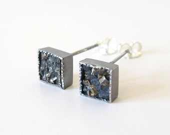 Pyrite Mineral Square Earring Stud Silver