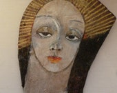 One of a kind papier mache 'Angel'  icon/ornament