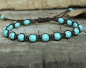 Turquoise Knot Unisex Bracelet, 6mm