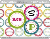 1 Inch - Editable PDF (4x6) - Colorful Dots Digital Collage Sheet (No. 203) - 1 Inch Circles Stickers Magnets Gift Tags