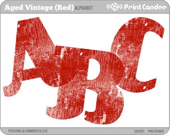 Aged Vintage Alphabet (Red) - Digital Clip Art Personal and Commercial Use - paper crafts card making scrapbooking