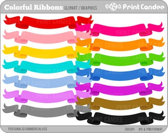 Colorful Ribbons - Personal and Commercial Use Clip Art - birthday, graphics, scrapbooking, card making, party