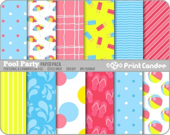 Pool Party Paper Pack (12 Sheets) - Personal and Commercial Use - red pink yellow turquoise beach fun flip flops