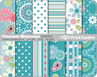 Pleasant Memories Paper Pack (12 Sheets) - Personal and Commercial Use - pink blue sweet cute pretty dots circles flowers