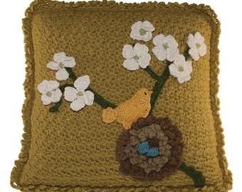 Crochet Bird in Nest Pillow