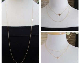 "34"" OFFSET Sideways Cross Necklace, Long Layered Necklace--  As seen Audrina Patridge - Celebrity Inspired"
