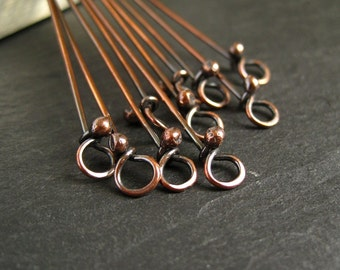Oxidized copper eyepins, copper loop headpins, antique patina, 10 headpins, 20g, 0.8mm wire, handmade copper findings, jewelry supplies