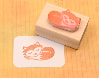 Fox Stamp - Sleeping Fox Hand Carved Rubber Stamp - Animal Stamper - Gift Animal Lover - Woodland Craft - Baby Scrapbooking - Card Making