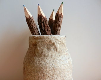 pencil holder made from beach sand / made to order /  office decor / beach decor