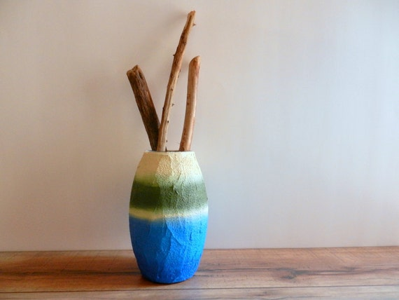 Blue and green Vase / Beach and Sea inspired /  Glass stucco concrete vase