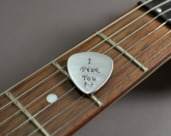 Small medium aluminum guitar pick with I pick you