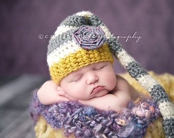 Baby Girl Elf Hat in Yellow, Cream, and Grey with Detachable Rosette Accessory