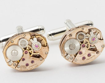 Steampunk cufflinks vintage watch movements gears rose gold wedding anniversary gift silver cuff links mens jewelry by Steampunk Nation