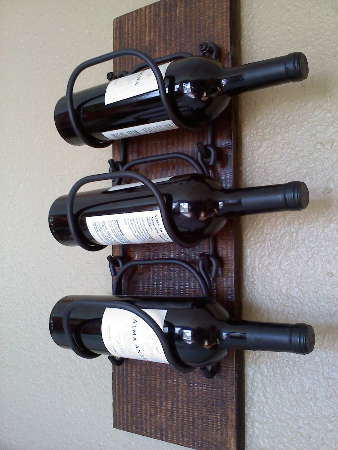 wall hanging wooden wine rack zoom