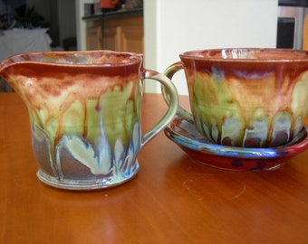 Raining Prisms Deluxe Tea Cup Set with Tea Mug - Saucer and Creamer
