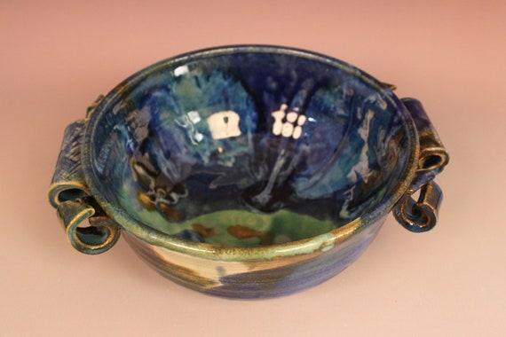 Blue Green Ceramic Bowl -- Curls