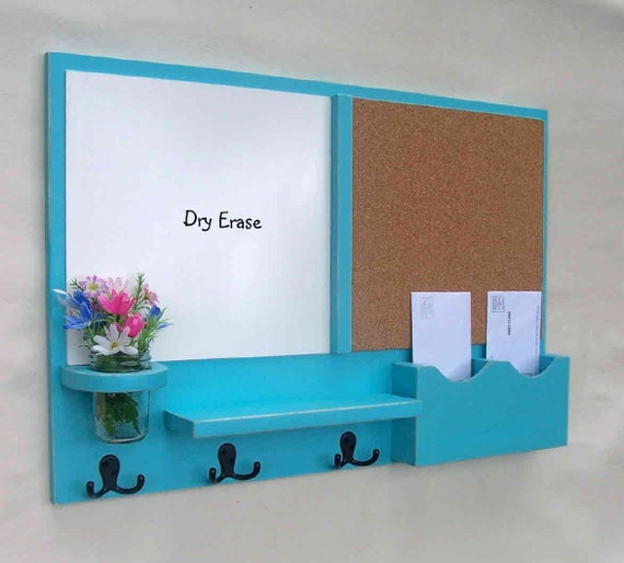Mail organizer message center cork board white by legacystudio for Cork board with hooks