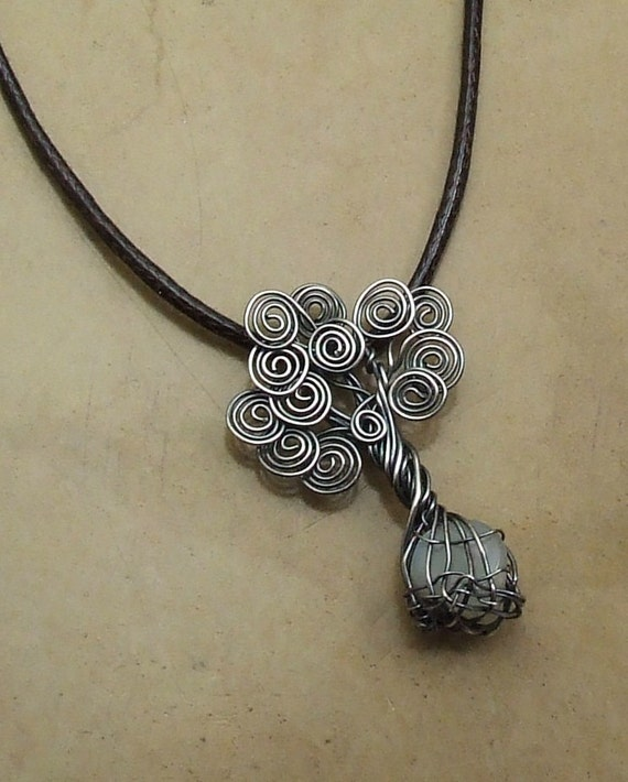 Tree of Life Moonstone Nugget  Sterling Silver Necklace