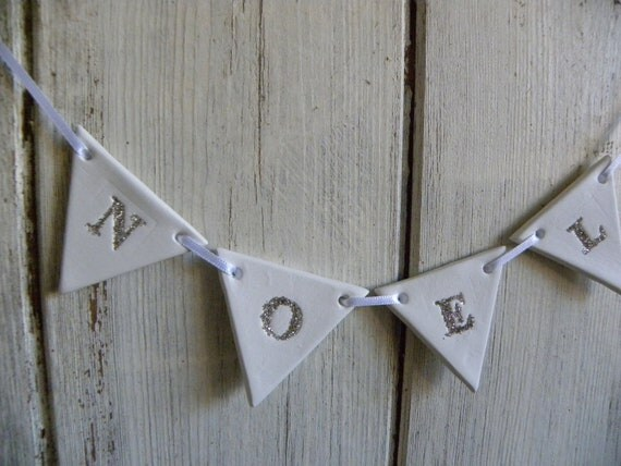 White clay and German glitter glass NOEL banner for Christmas
