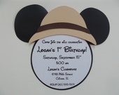 Safari Mickey Mouse Inspired Invitations Mickey Safari Invitation Mickey Pith Hat Helmet Invitations Zoo Animal Birthday Party Invitations