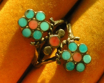 Southwest Sterling Silver Turquoise Coral Dishta Inlay Flower Ring