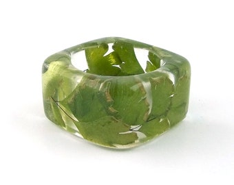 Maidenhair Fern Resin Ring. Green Ferns in a Resin Band.  Geometric Square Band Ring. Contemporary Botanical