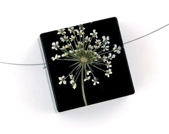 Limited Edition Sale! Queen Anne's Lace set into Black Resin Cube.