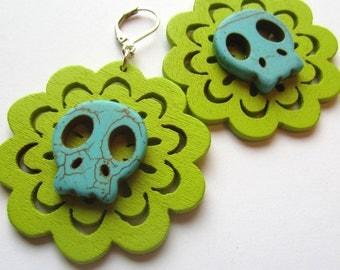 sugar skull Earrings,  Wood Earrings celery green wood and turquoise howlite.