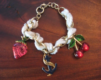 Rope Bracelet Enameled Cherries Strawberry Anchor Gold Tone Bracelet Jewelry Guess on Anchor 1980 Era