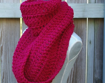 Chunky Infinity Scarf Cowl Scarf in Cranberry Red Crochet
