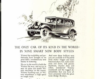 Vintage DODGE BROTHERS Victory Six Automobile Ad December 1928 National Geographic Original Illustration