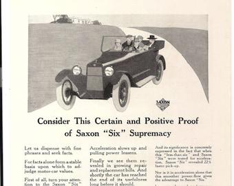 1917 SAXON SIX Automobile, Vintage National Geographic Magazine Advertisement, Original March 1917 Page