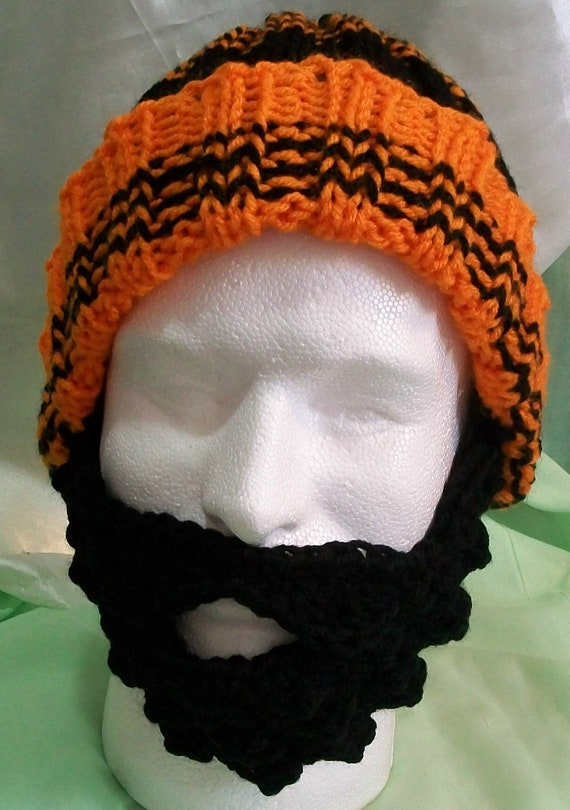 Knitted Orange & Black Ribbed Hat with Crocheted Black Beard