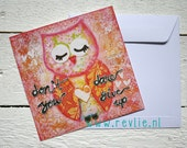 """4 unique mixed media Postcards """"Don't you DARE give up"""" - owl postcards"""
