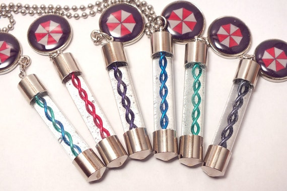 Video Game Zombie Virus Capsule Cosplay Necklace with Charm, Custom Colors