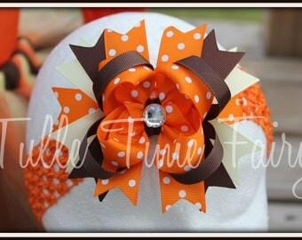 "4"" Orange polka dot Thanksgiving colors bow on alligator clip"
