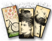 Vintage Mixed Images 1 x 2 Inch Rectangulars Digital Collage Sheet Download and Print