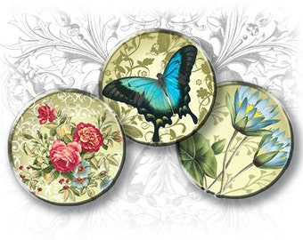 INSTANT DOWNLOAD - Souvenir d'ETE 1 Inch Round Images Digital Collage Sheet Download and Print