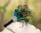 Wedding Boutonniere Peacock & Rhinestone Crystal. Spring Lime Green Turquoise, Ivory / White / Black Ribbon. Sophisticated Groom Groomsmen