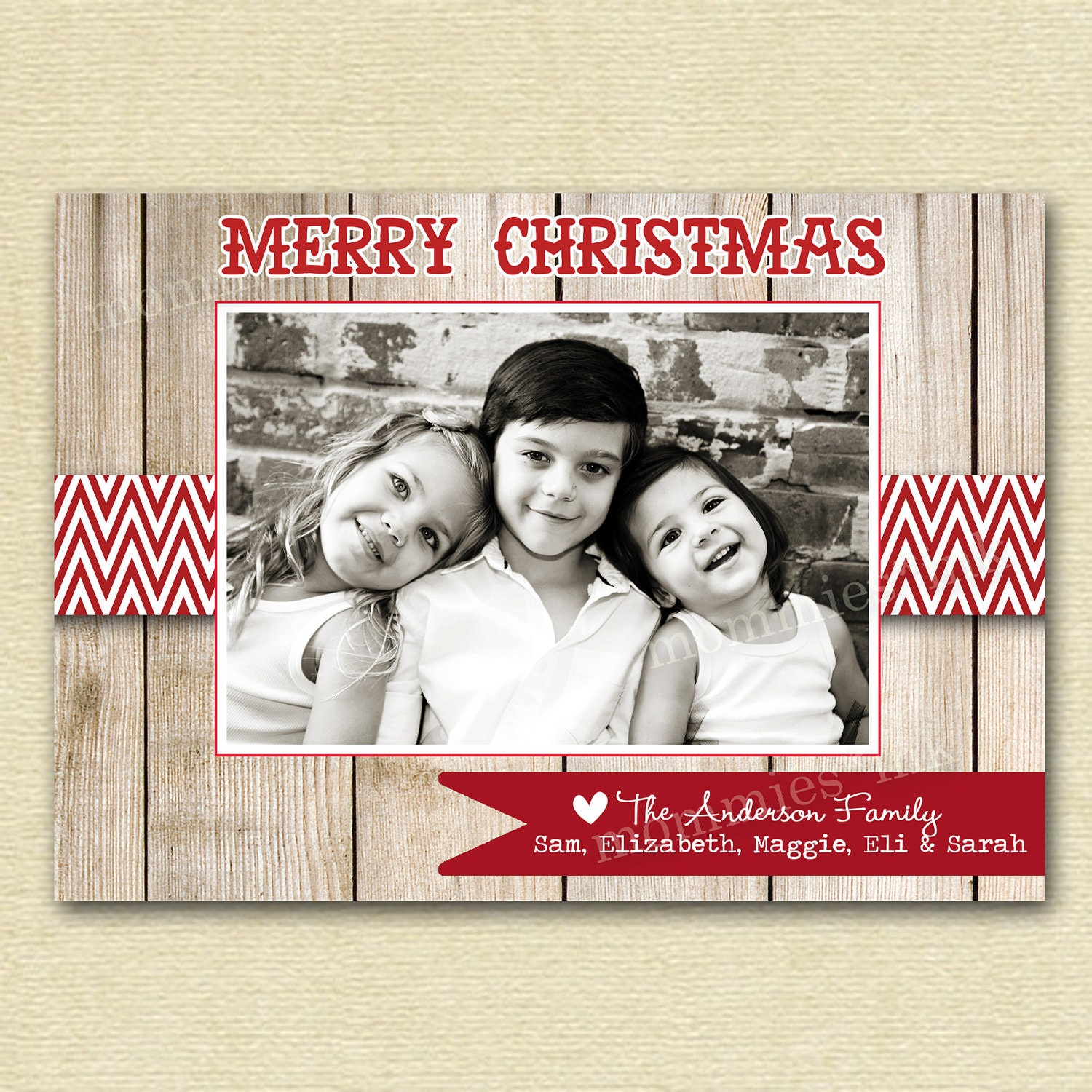 Christmas card photo wood by